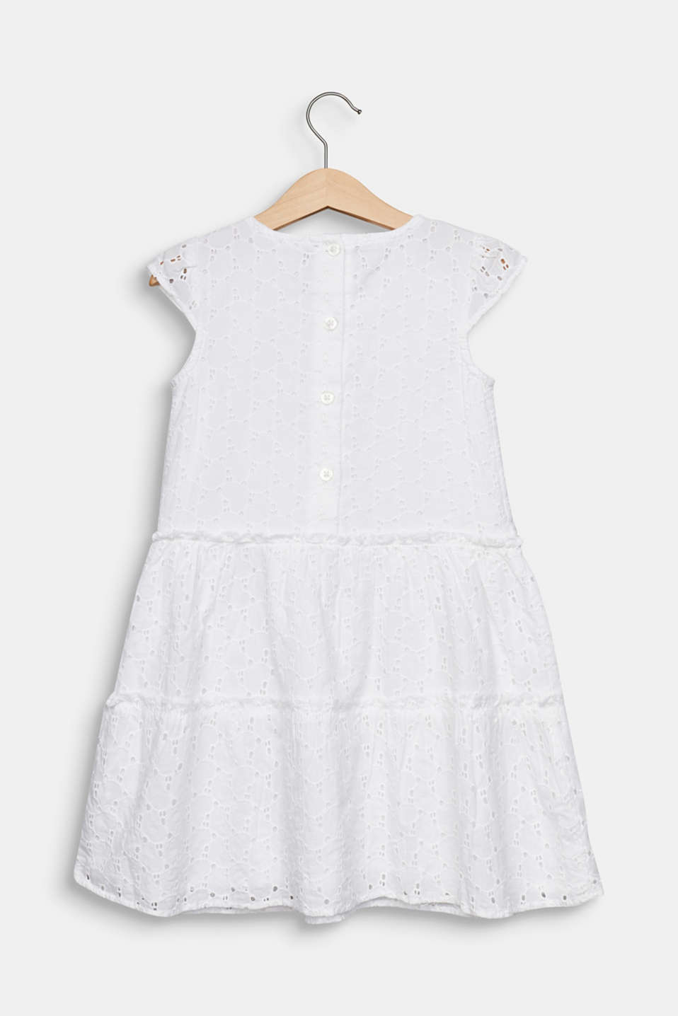 Dress with broderie anglaise, 100% cotton, WHITE, detail image number 1