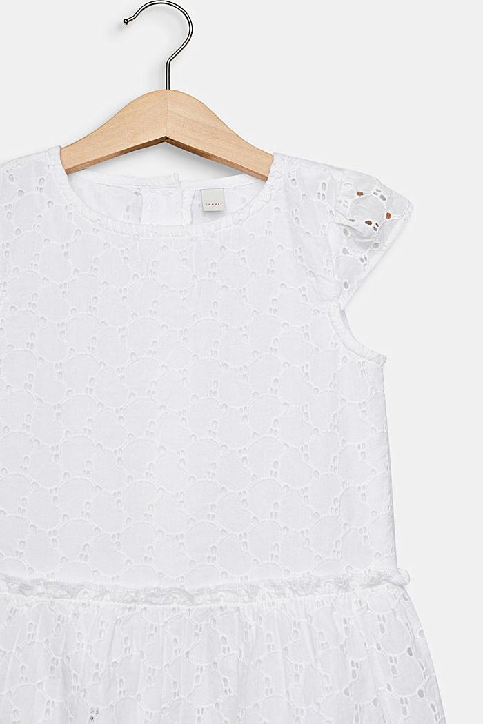 Dress with broderie anglaise, 100% cotton, WHITE, detail image number 2