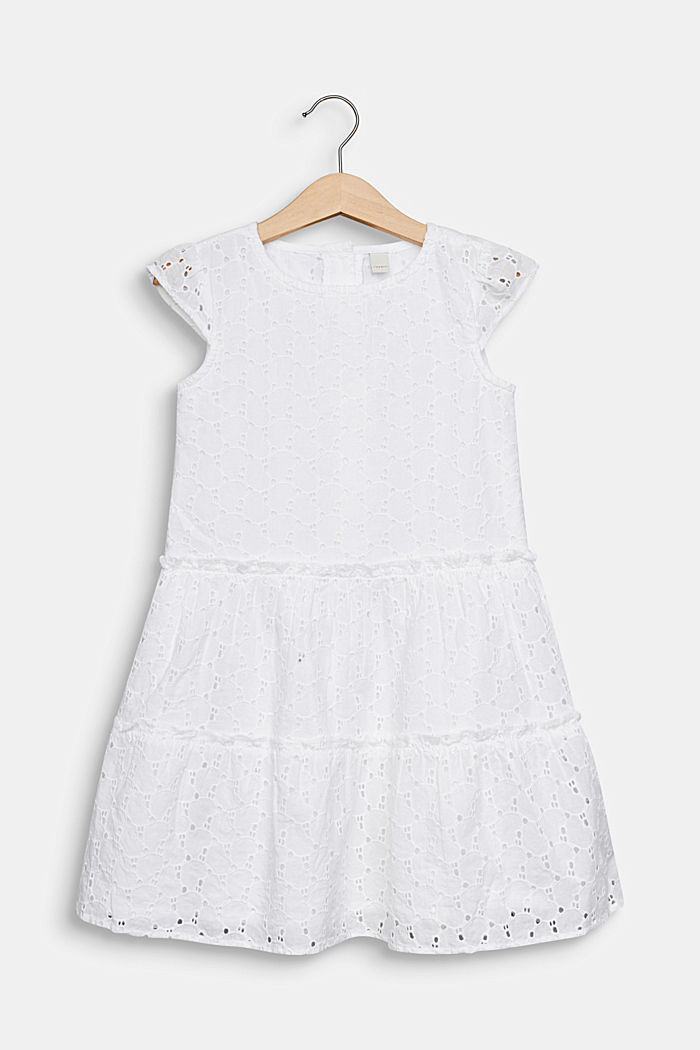 Dress with broderie anglaise, 100% cotton, WHITE, detail image number 0