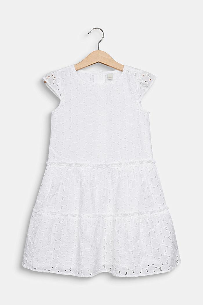 Kleid mit Lochstickerei, 100% Baumwolle, WHITE, detail image number 0