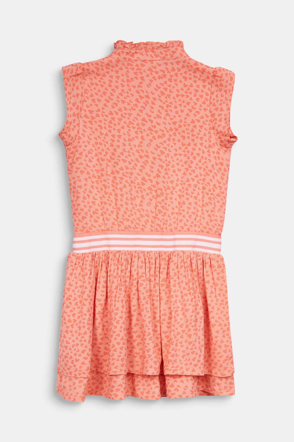Heart print dress with an elasticated waist, CORAL, detail image number 1