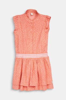 Heart print dress with an elasticated waist, CORAL, detail