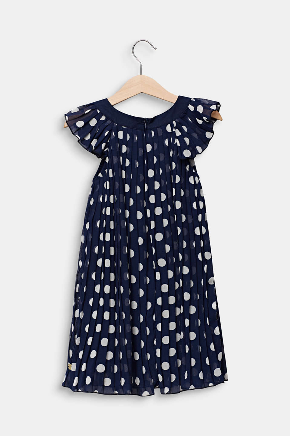 Pleated chiffon dress with polka dots, MIDNIGHT BLUE, detail image number 1