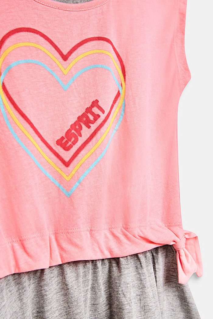 Layered-effect dress with a heart print, NEON PINK, detail image number 2