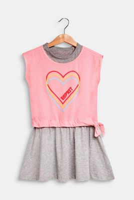 Layered-effect dress with a heart print, NEON PINK, detail