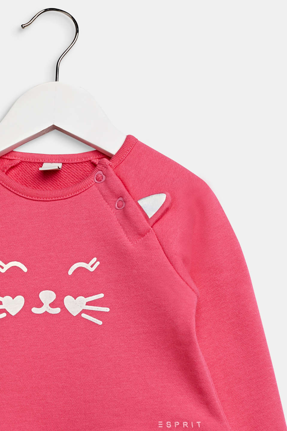 Sweatshirt dress with a cat face, 100% cotton, LCCANDY PINK, detail image number 3