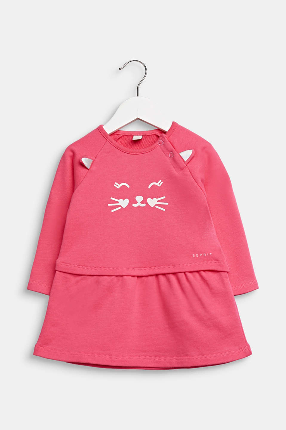 Sweatshirt dress with a cat face, 100% cotton, LCCANDY PINK, detail image number 0