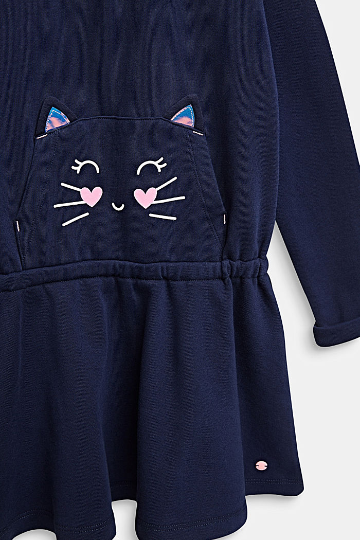 Sweatshirt dress with a cat face, 100% cotton, MIDNIGHT BLUE, detail image number 2