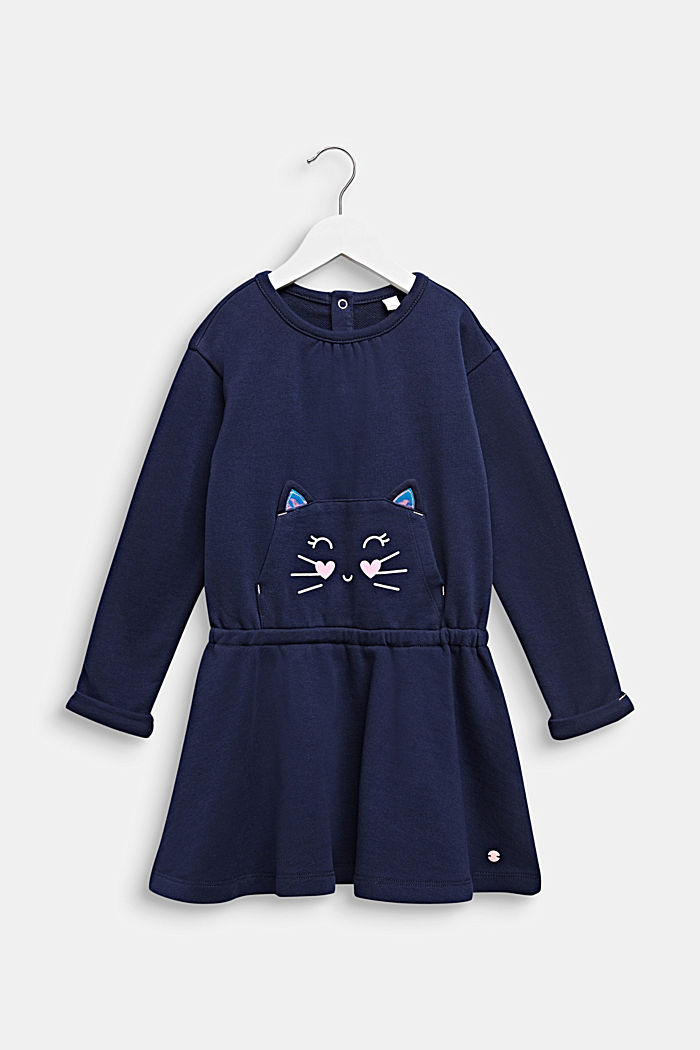 Sweatshirt dress with a cat face, 100% cotton, MIDNIGHT BLUE, detail image number 0