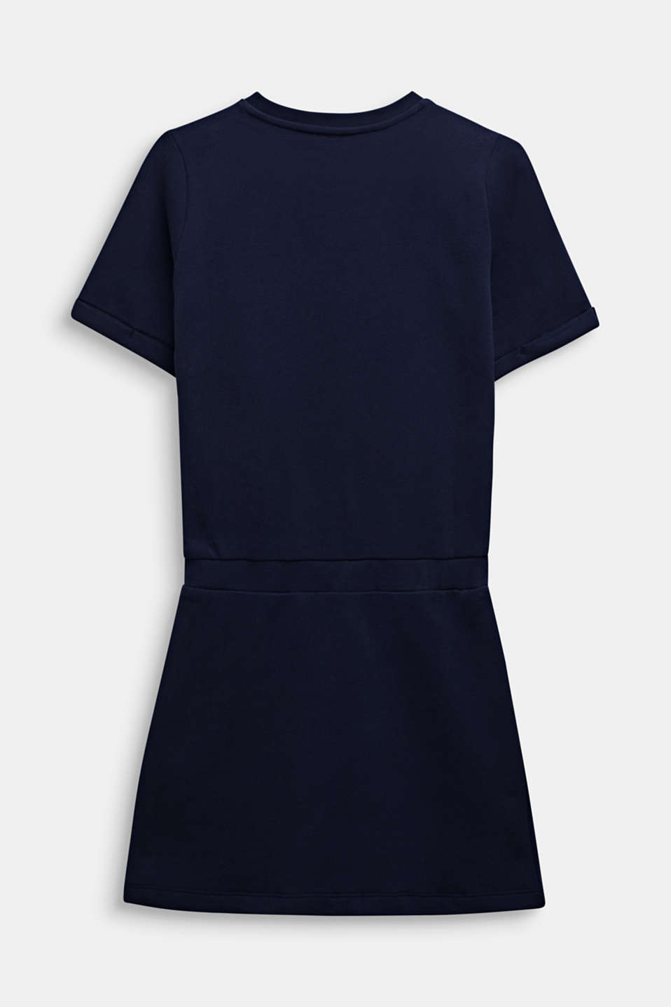 Sweatshirt fabric dress with a shiny logo print, LCMIDNIGHT BLUE, detail image number 1