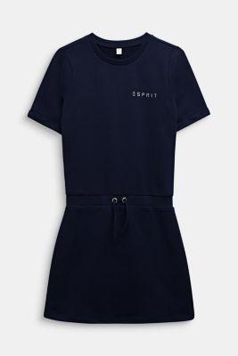 Sweatshirt fabric dress with a shiny logo print, LCMIDNIGHT BLUE, detail