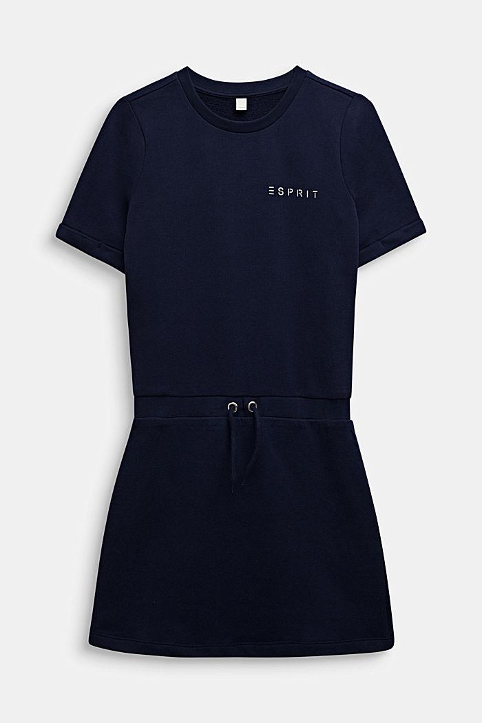 Sweatshirt fabric dress with a shiny logo print