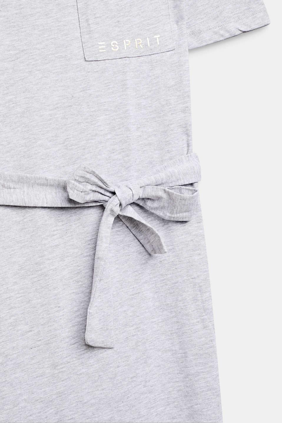 Melange shirt dress made of jersey, LCHEATHER SILVER, detail image number 3