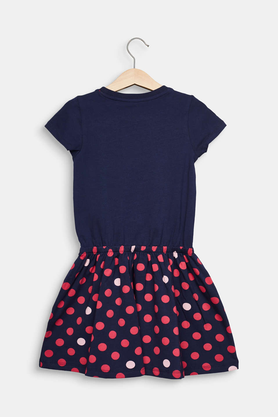 Jersey dress with a polka dots, stretch cotton, MIDNIGHT BLUE, detail image number 1
