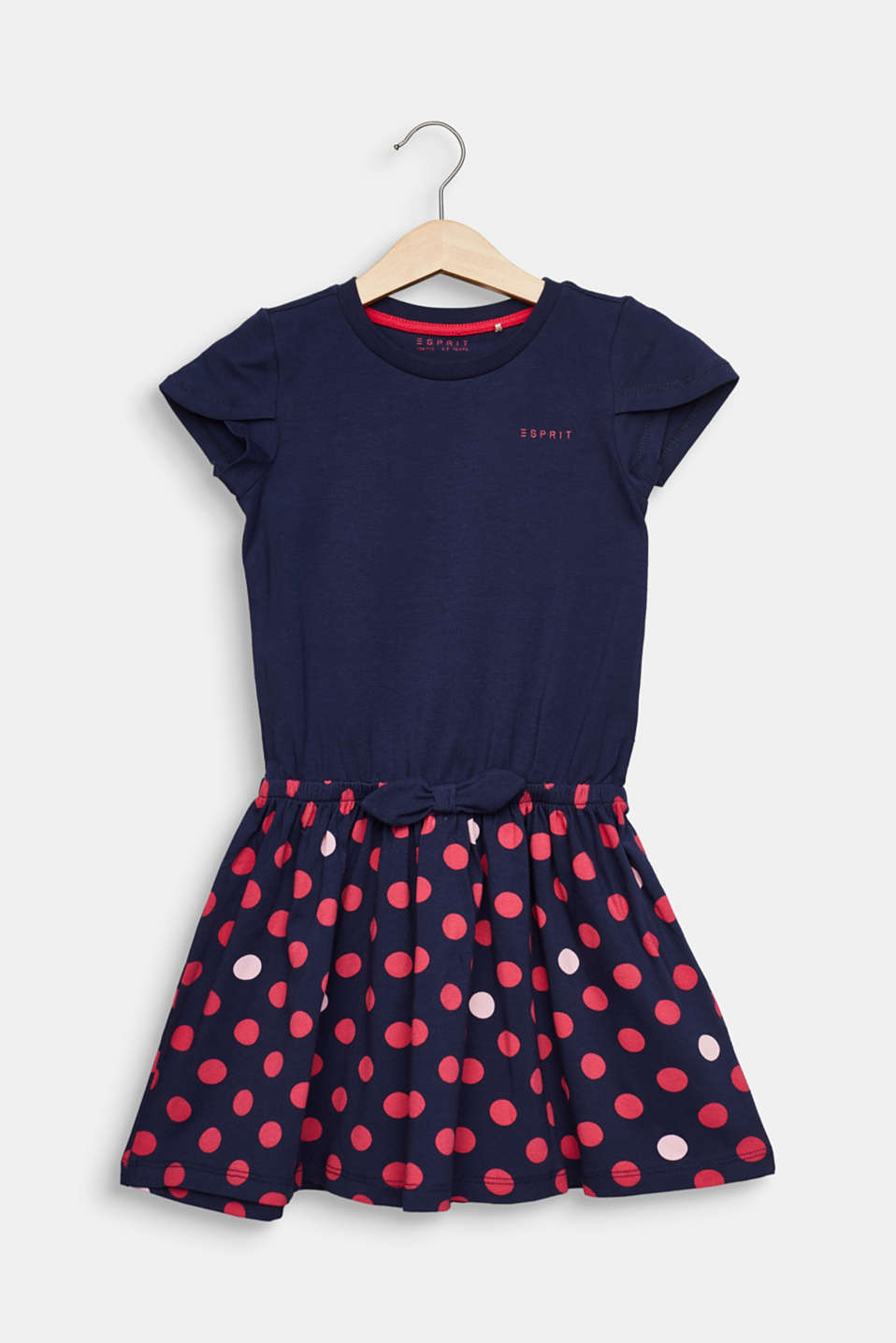 Jersey dress with a polka dots, stretch cotton, MIDNIGHT BLUE, detail image number 0