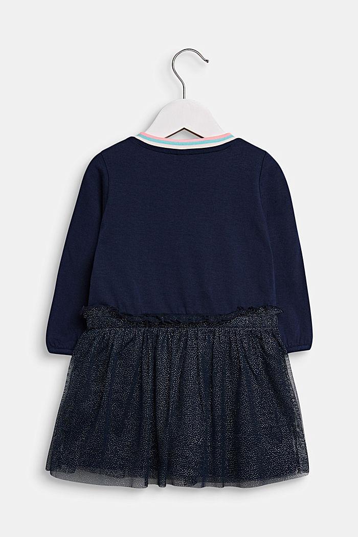 Jersey jurk met glanzende rok van tule, MIDNIGHT BLUE, detail image number 1