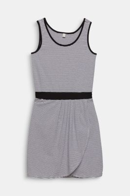 Jersey dress with a wrap skirt, 100% cotton, LCWHITE, detail