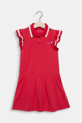 Stretch jersey dress with pleated skirt, RASPBERRY, detail
