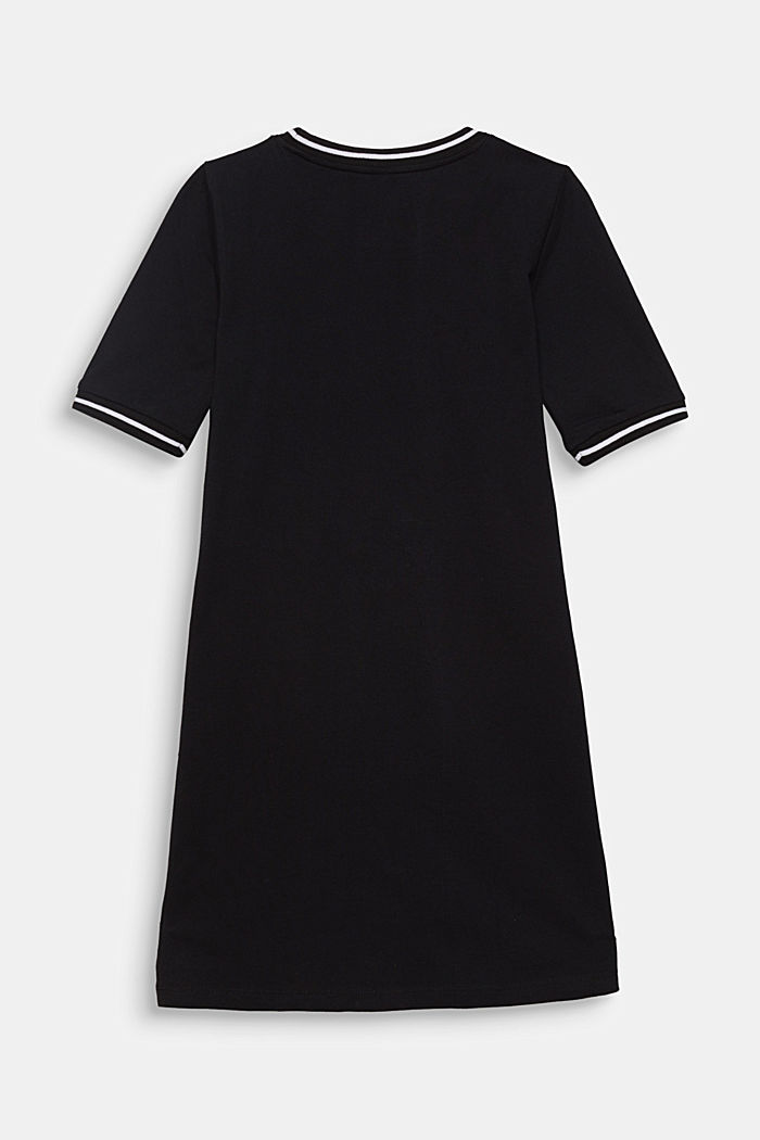 Piqué dress with contrasting stripes, 100% cotton, BLACK, detail image number 1