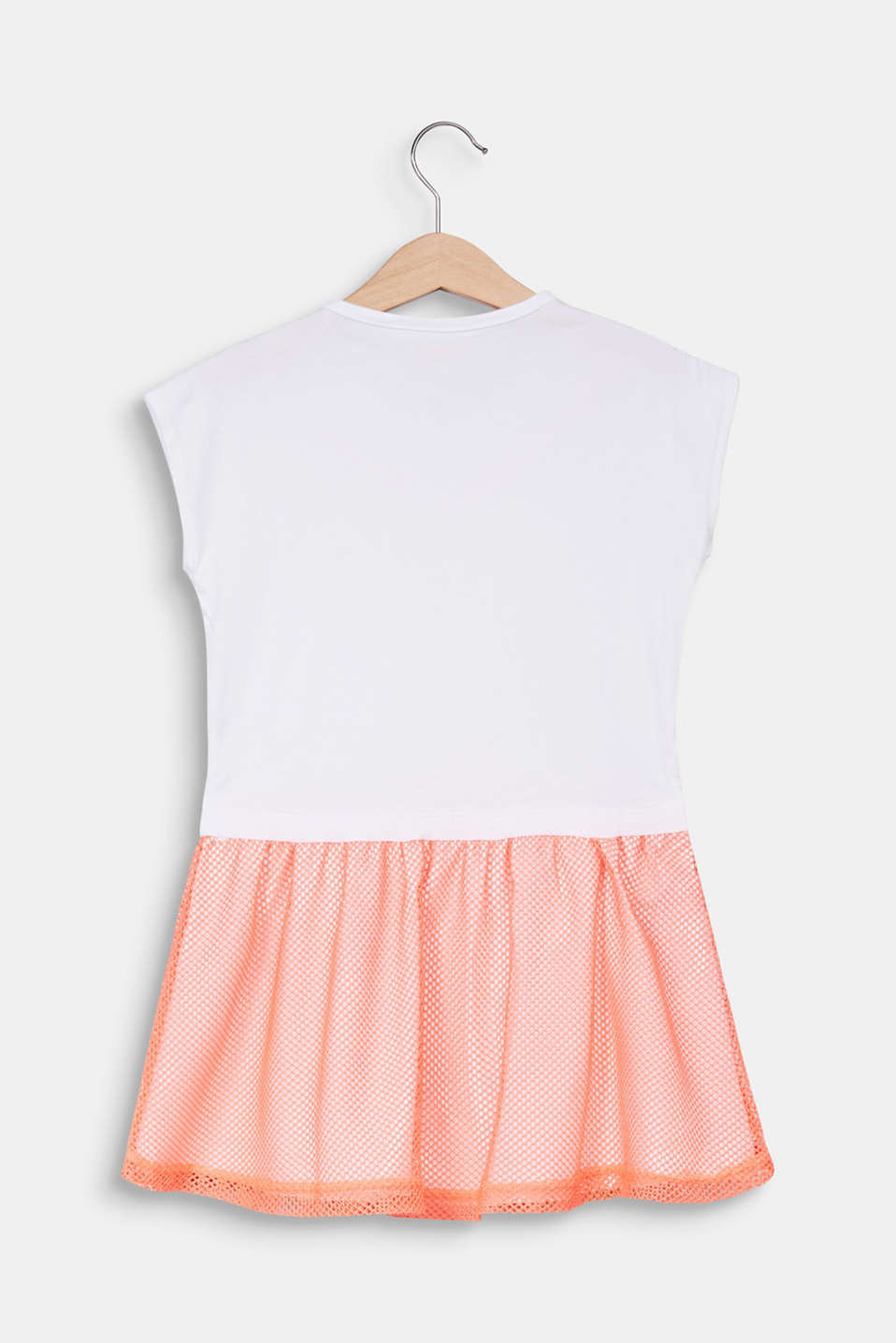 Jersey dress with a neon mesh skirt, WHITE, detail image number 1