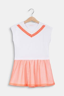 Jersey dress with a neon mesh skirt, WHITE, detail