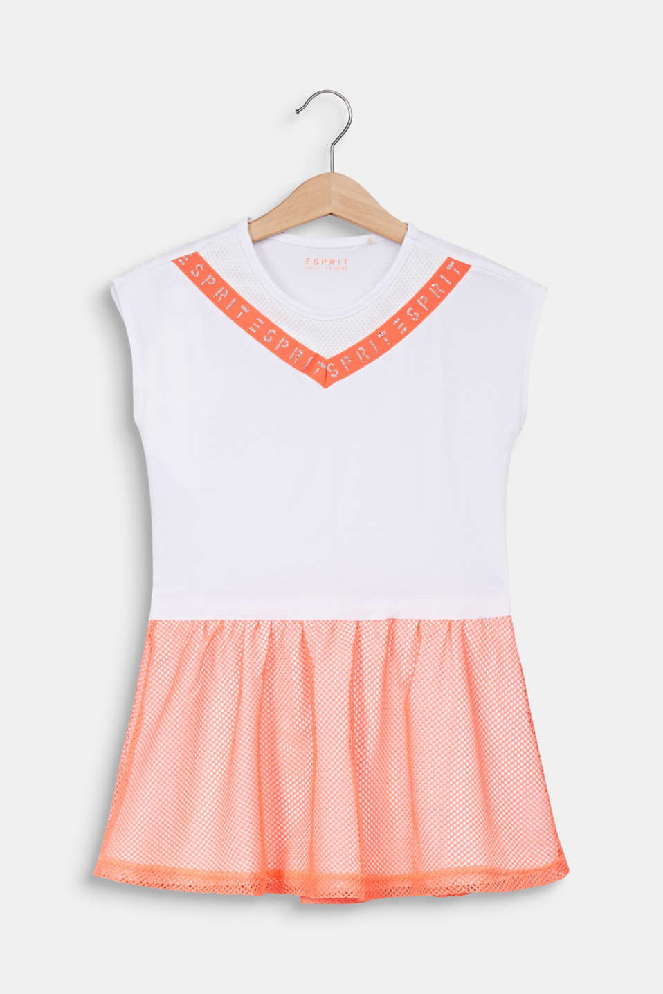Jersey dress with a neon mesh skirt, WHITE, detail image number 0