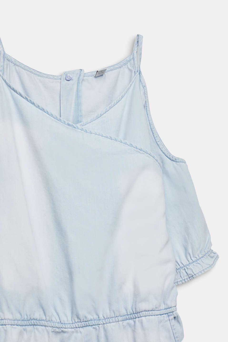 Denim jumpsuit with cut-outs, 100% cotton, LCLIGHT INDIGO D, detail image number 2