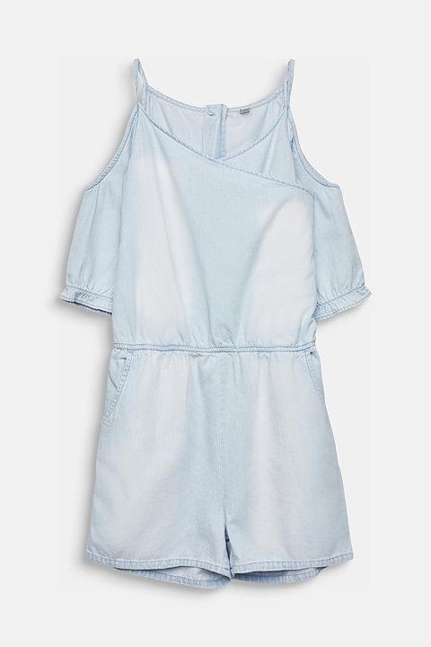 Denim jumpsuit with cut-outs, 100% cotton