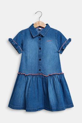 Denim dress in a garment-washed look, 100% cotton, MEDIUM WASH DE, detail