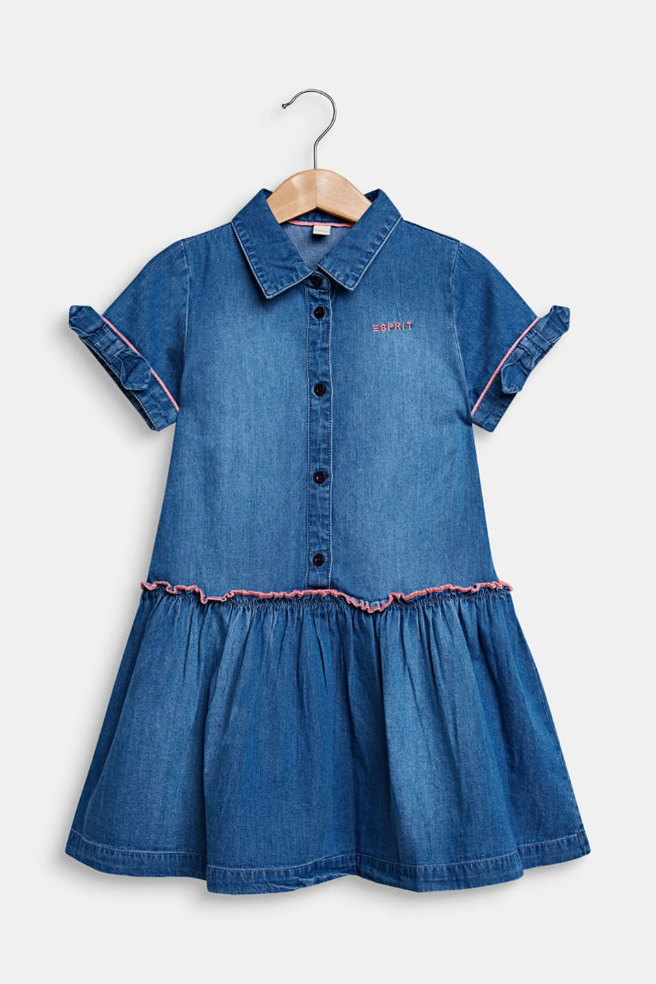 Denim dress in a garment-washed look, 100% cotton, MEDIUM WASH DE, detail image number 0