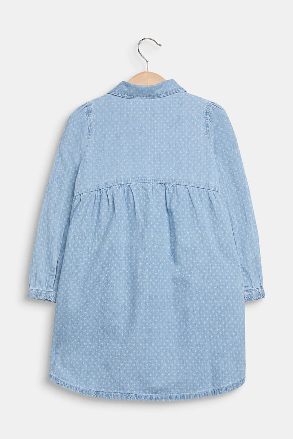 Lightweight denim dress with a print, 100% cotton, LIGHT INDIGO D, detail image number 1