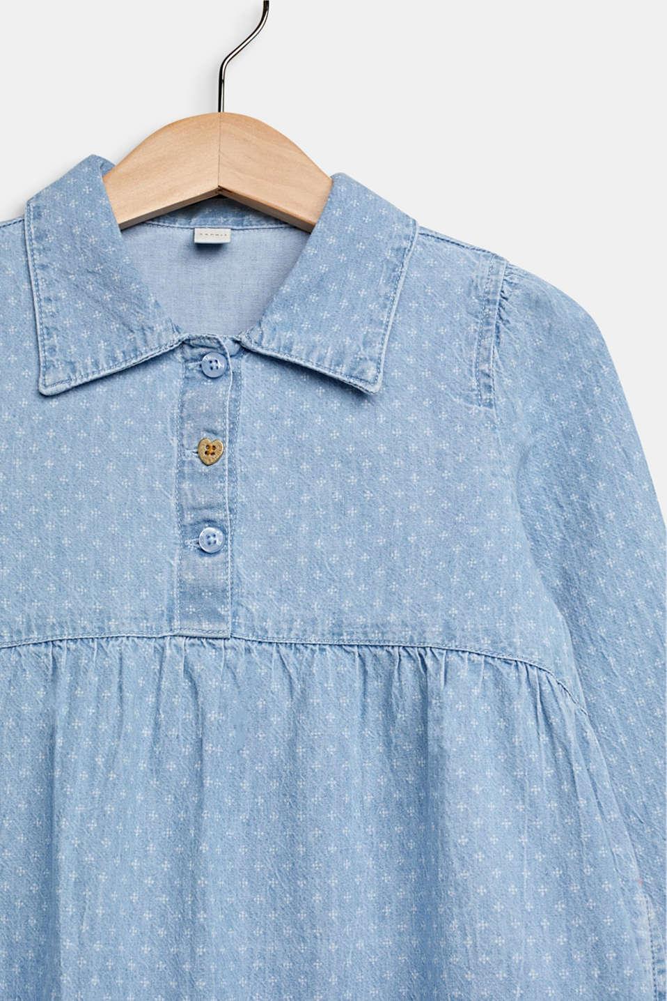 Lightweight denim dress with a print, 100% cotton, LIGHT INDIGO D, detail image number 2