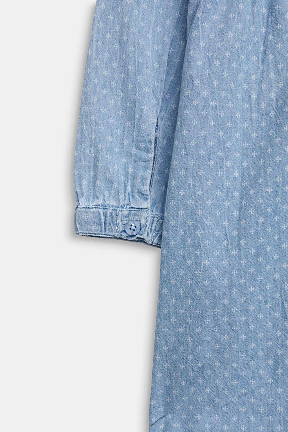 Lightweight denim dress with a print, 100% cotton, LIGHT INDIGO D, detail image number 3