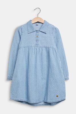 Lightweight denim dress with a print, 100% cotton, LIGHT INDIGO D, detail