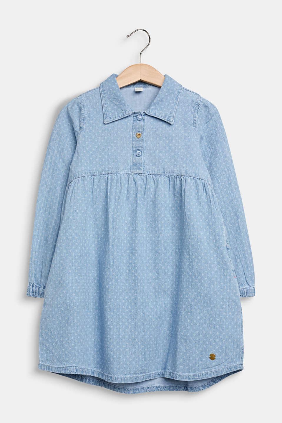 Lightweight denim dress with a print, 100% cotton, LIGHT INDIGO D, detail image number 0