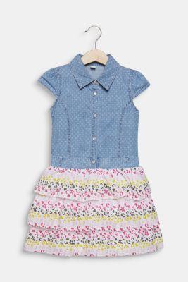 Dress in a mixed material look, 100% cotton, LIGHT INDIGO D, detail