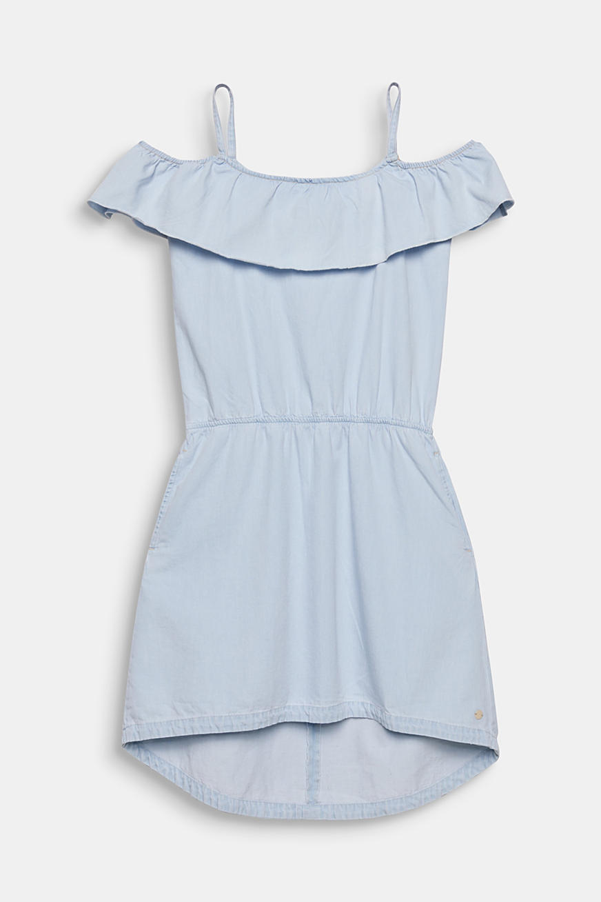 Spaghetti strap dress made of denim, 100% cotton