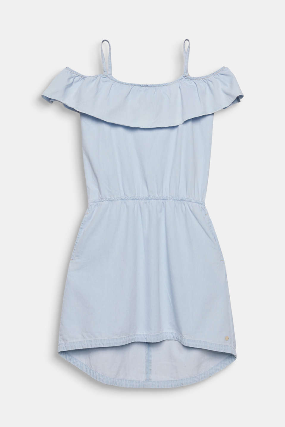 Spaghetti strap dress made of denim, 100% cotton, LCLIGHT INDIGO D, detail image number 0