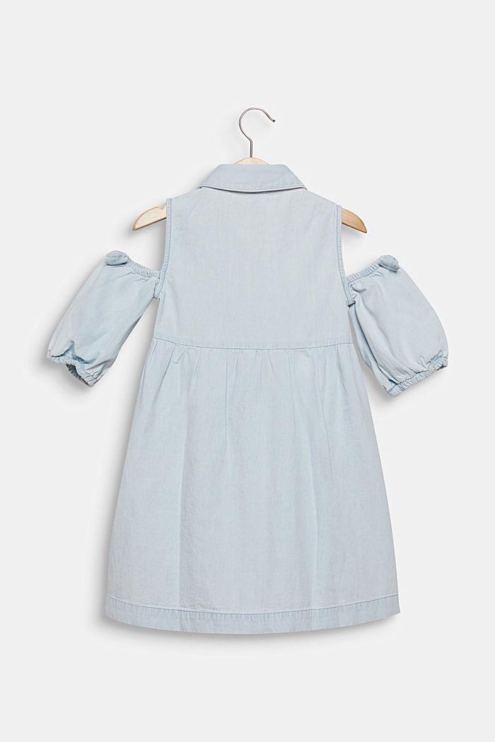 Denim dress with cut-out shoulders, cotton, LIGHT INDIGO DENIM, detail image number 1