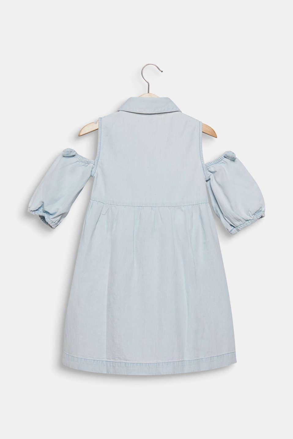 Denim dress with cut-out shoulders, cotton, LIGHT INDIGO D, detail image number 1