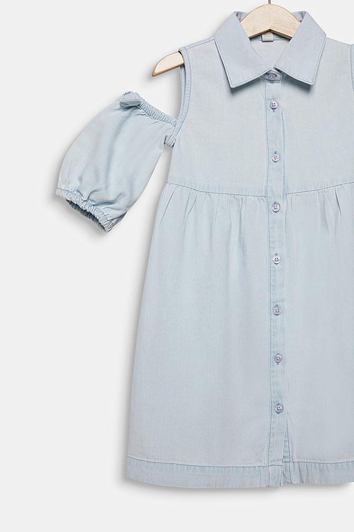 Denim dress with cut-out shoulders, cotton, LIGHT INDIGO DENIM, detail image number 2