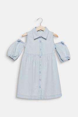 Denim dress with cut-out shoulders, cotton, LIGHT INDIGO D, detail