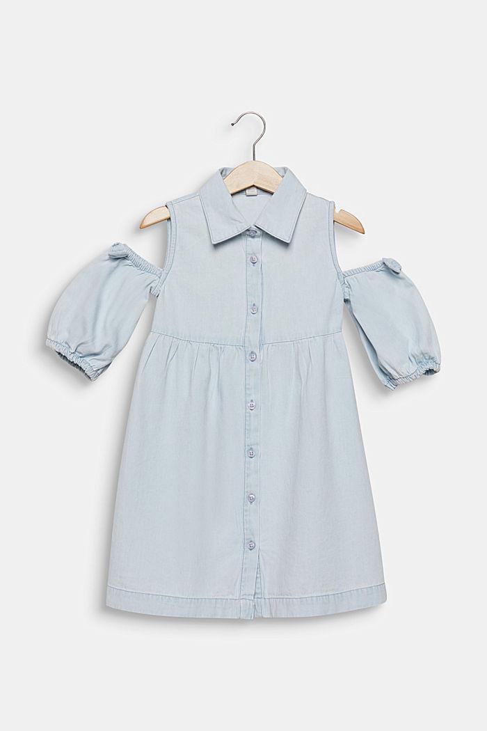 Denim dress with cut-out shoulders, cotton, LIGHT INDIGO DENIM, detail image number 0