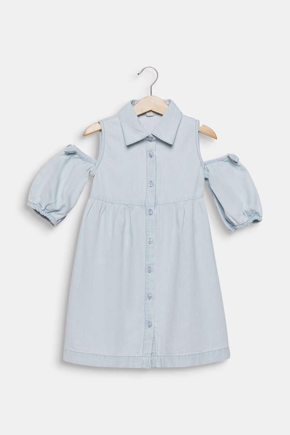 Denim dress with cut-out shoulders, cotton, LIGHT INDIGO D, detail image number 0