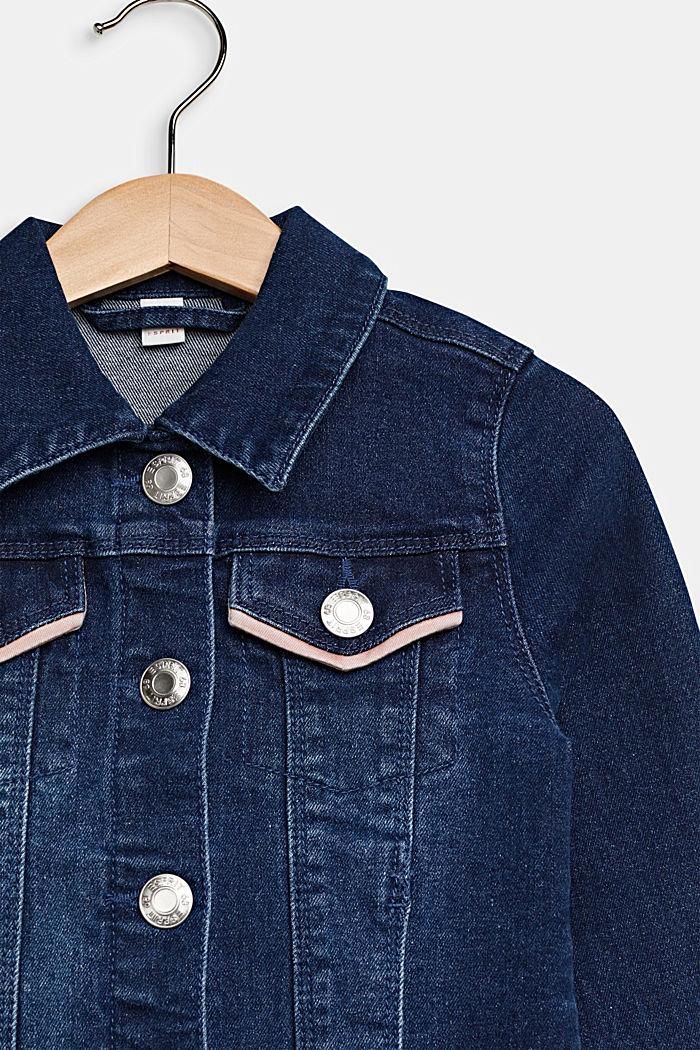 Jeans-Jacke mit paspelierten Taschen, MEDIUM WASHED DENIM, detail image number 2