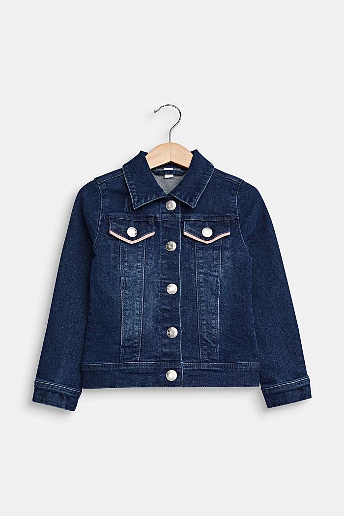 Jeans-Jacke mit paspelierten Taschen, MEDIUM WASHED DENIM, detail image number 0