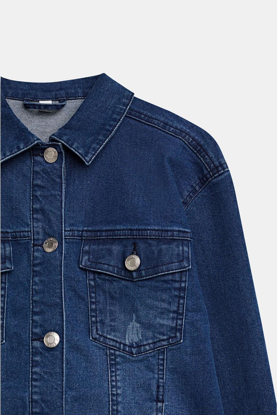 Denim jacket with a statement print, LCMEDIUM WASH DE, detail image number 2