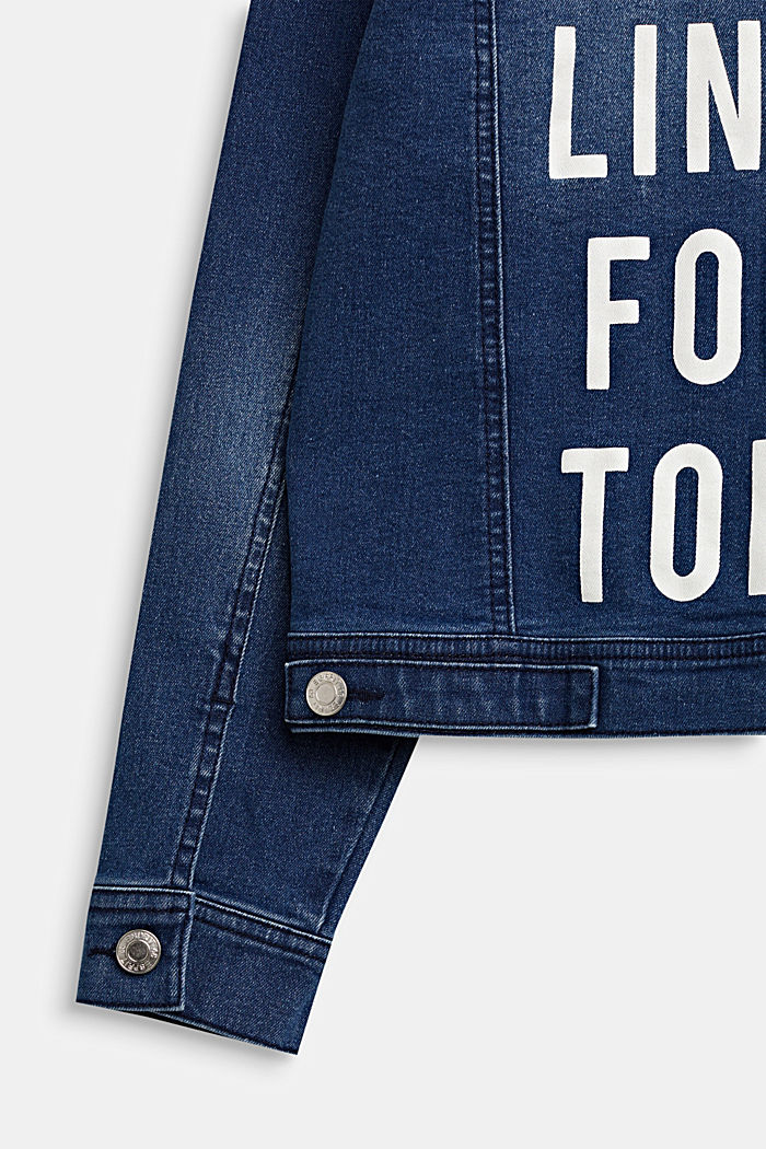 Jeans-Jacke mit Statement-Print, MEDIUM WASHED DENIM, detail image number 3
