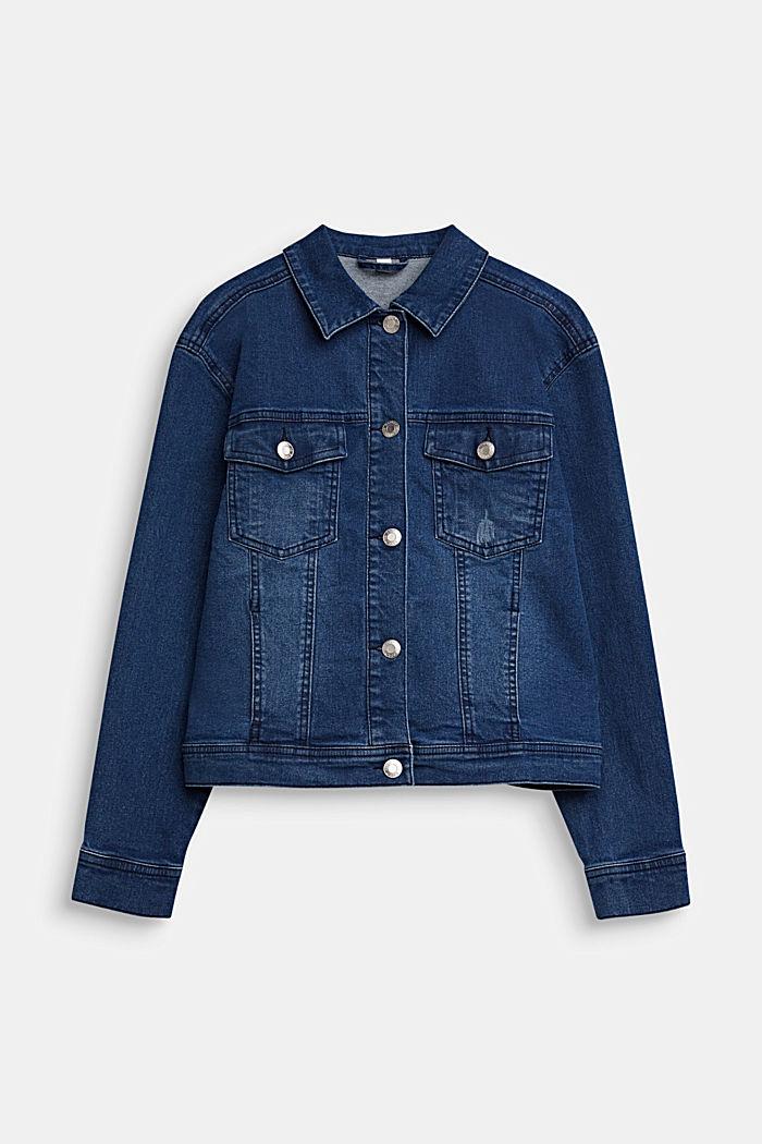 Jeans-Jacke mit Statement-Print, MEDIUM WASHED DENIM, detail image number 0