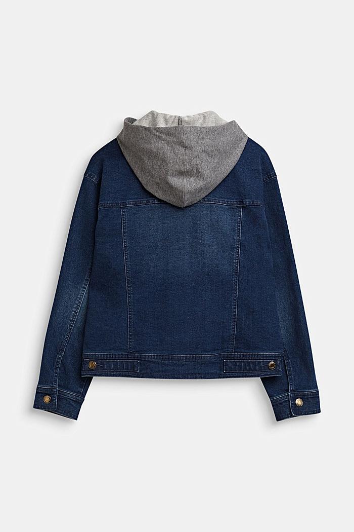 Denim jacket with a sweatshirt hood